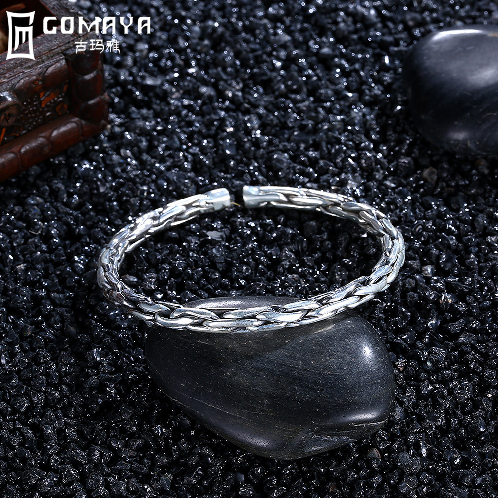 GOMAYA Genuine 999 Sterling Silver Simple Classic Bangles Bracelets Fine Jewelry Gift for Women Vintage Open Cuff Bracelets