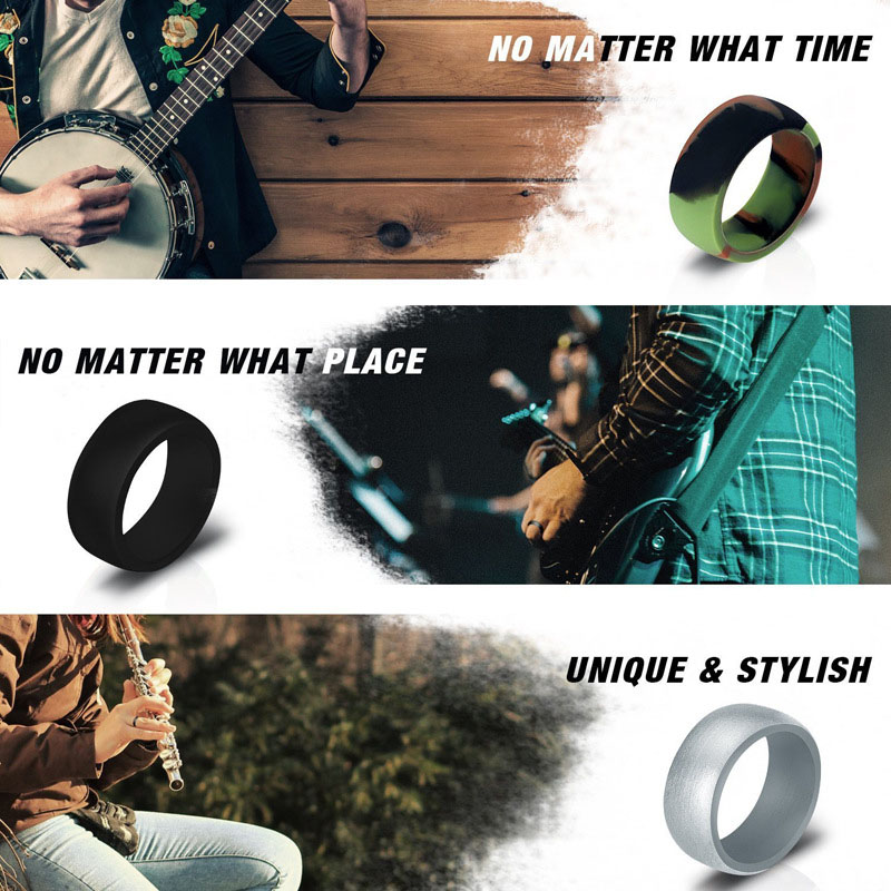 Image 5 - 10pcs Food Grade FDA Silicone Rings 8.7mm Hypoallergenic Flexible  Sports Antibacterial Finger Rings Rubber Wedding Ring For MenRings