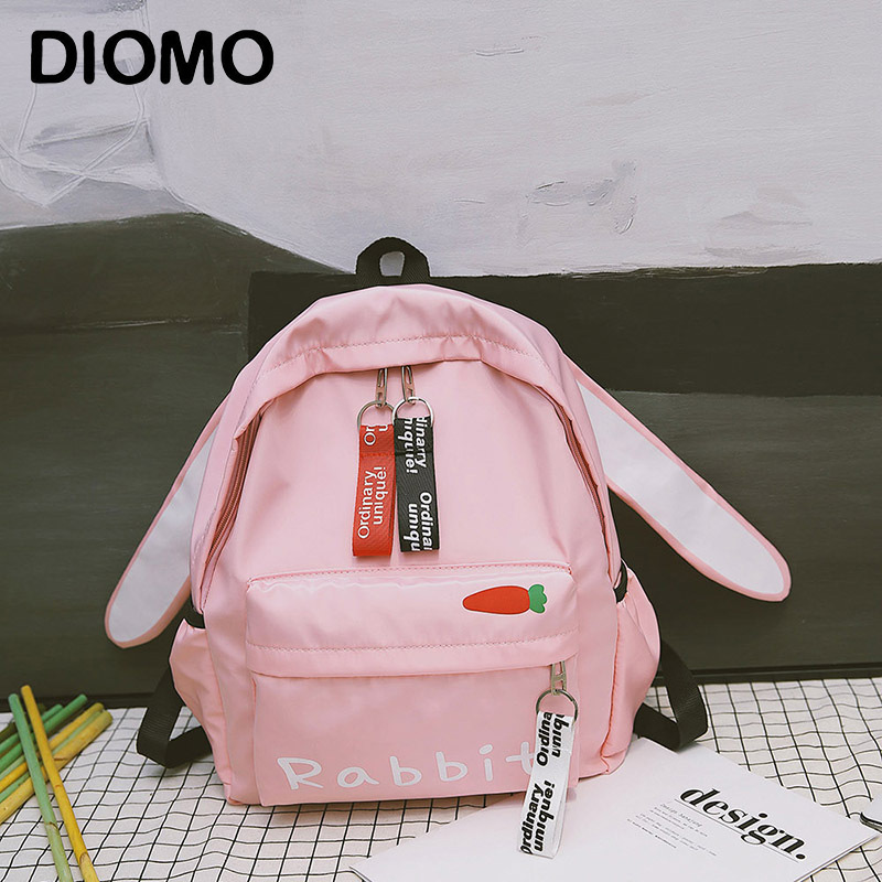 DIOMO Cute Animal Ears Primary And Secondary School Bags For Teenage Girls Cute Backpack Small Bagpack Rucksack Women Back Bag