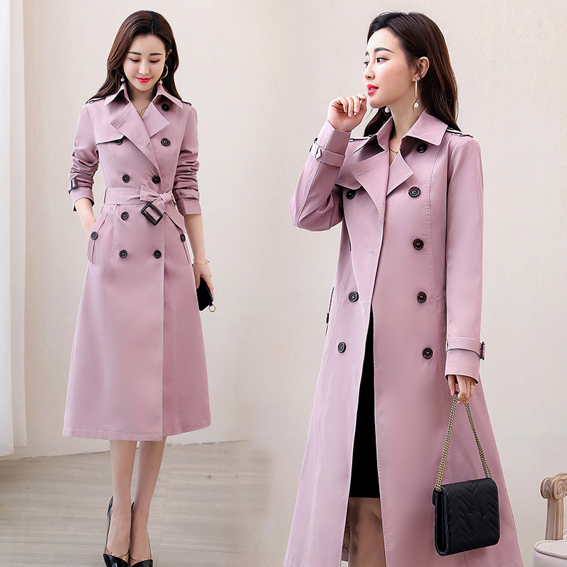 Autumn Winter Women Double Breasted Trench Coats Long With Belt Casual Windbreaker Waterproof Raincoat Business Outerwear R769