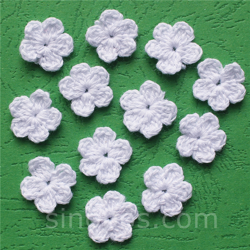 Handmade Crochet Butterflies x 5 in white and mint green applique//embellishments