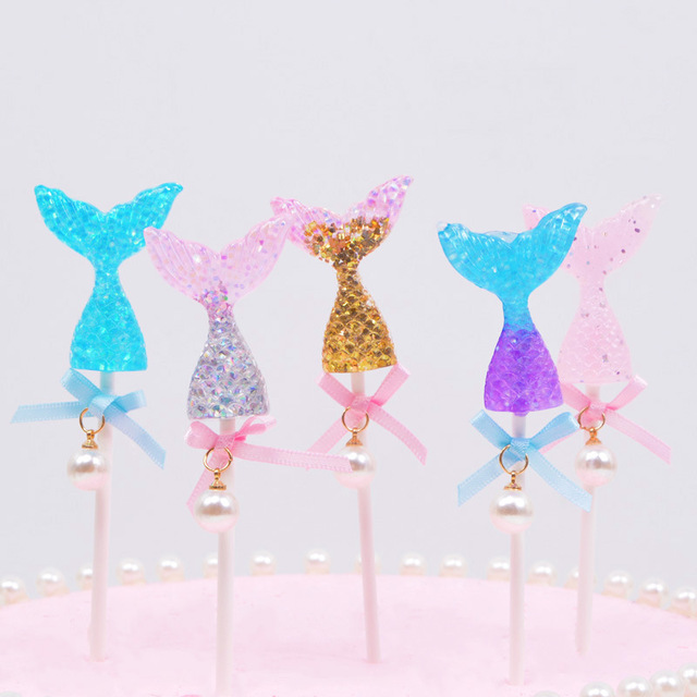 5pcs Mermaid Party Cake Topper Cupcake 1st Birthday Decorations Kids Baby Shower Wedding Diy