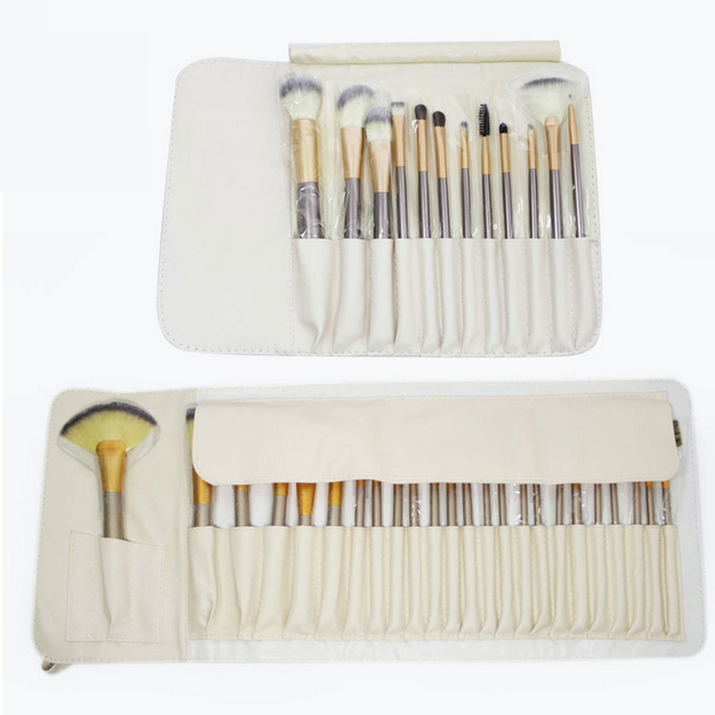 Professional 12/18/24Pcs Makeup Brushes Set Champagne Gold Make up Brush with Bag Foundation Blush Eyeliner Brush professional 24pcs set champagne makeup brushes powder foundation blush brush high quality cosmetic make up tools kits with bag