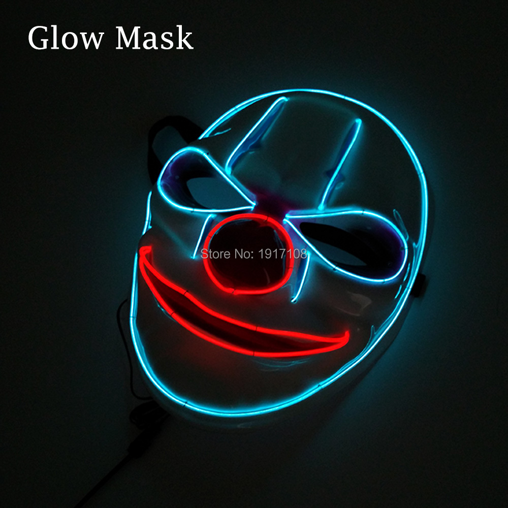 Glowing Two Color Halloween mask LED Clown masks EL wire mask Neon Light mask with Sound Activated For Party Decor Free shipping