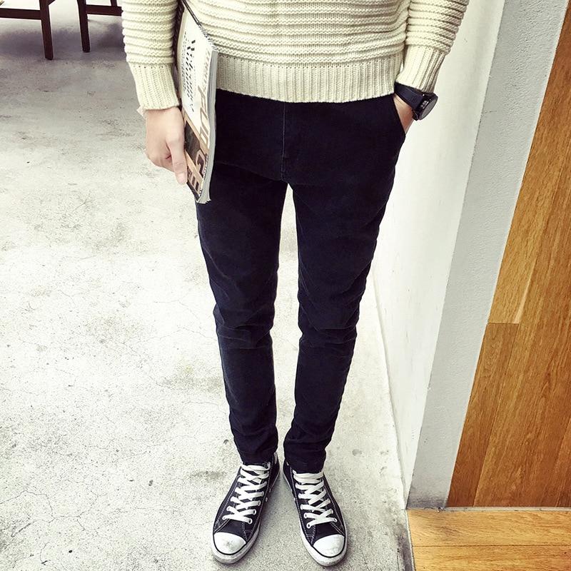 New 2017 Fashion Casual Men thicken students add wool warm jeans Hip Hop SKinny Slim Fit Pencil Pants Solid Black Leg Trousers inc petite new black skinny leg regular fit pants 10p $59 5