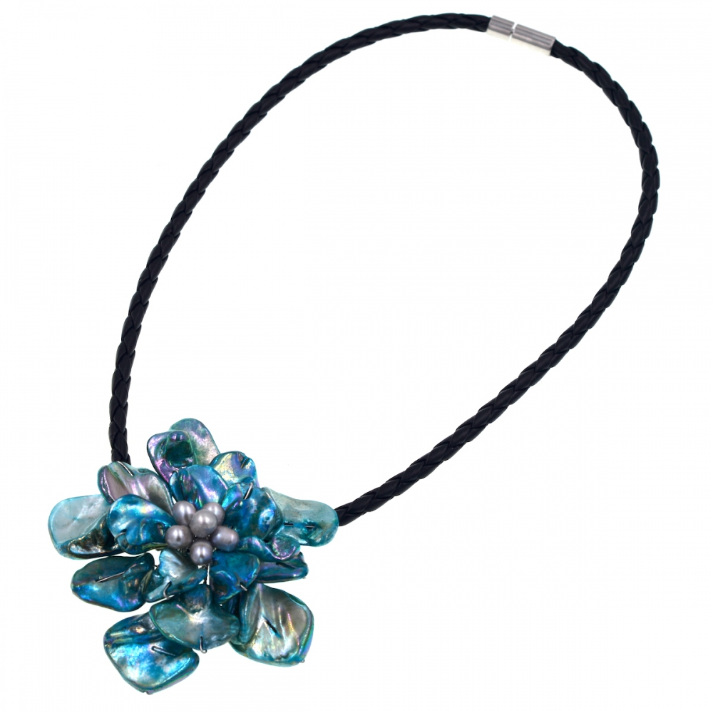 New Arrival Fashion Jewelry Gray Freshwater Pearl and Turquoises Shell Pendant Necklace for womens Jewelry Hot Sell
