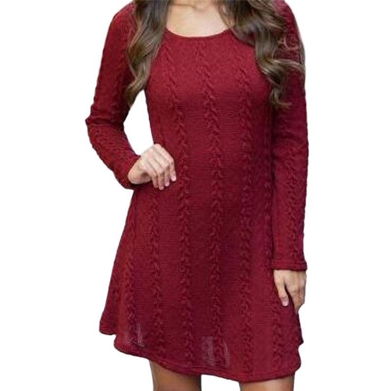 Cotton Knitted 2018 Summer Womens Mini Dresses Long Sleeve Party Dress Robe Longue Femme Round Neck Ladies Sweater Dresses round neck ladies sweater dresses cotton knitted 2018 summer womens mini dresses long sleeve party dress robe longue femme q1