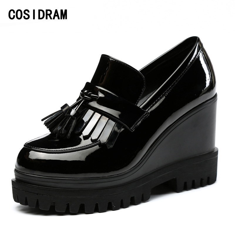 COSIDRAM Platform Wedges Women Shoes Patent Leather Tassel Women Pumps Spring Autumn High Heels Fashion Ladies Shoes BSN-013 bling patent leather oxfords 2017 wedges gold silver platform shoes woman casual creepers pink high heels high quality hds59