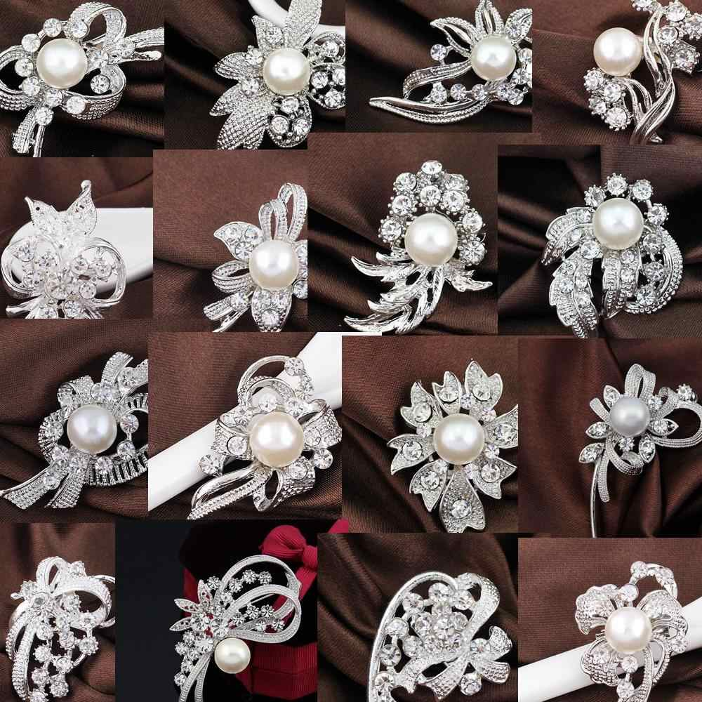 Many Styles Small Rhinestone Flower Silver-color Simulated Pearl Brooches for Women Brooch Pins Jewelry Accessories