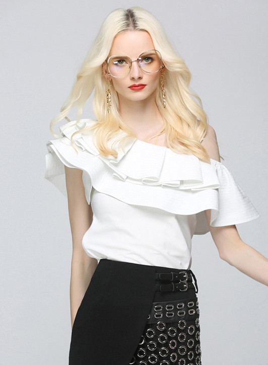 Blusas Tops Office De 2018 Blouse Streetwear Wang Shirt Sexy Skew Col Femmes Mode Whitney D'été Ruches Lady qH77aR
