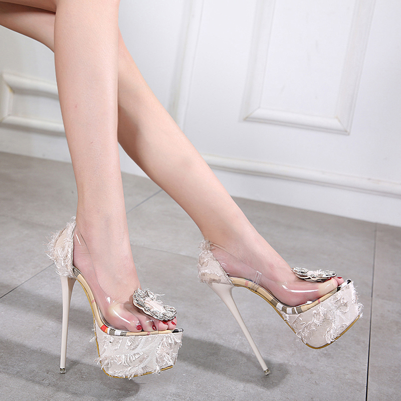 Sexy PVC Transparent Thin Heels Women Pumps Luxury Crystal wedding Party  High Heels Sandals Fashion Ladies
