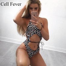 Sexy Leopard One Piece Swimsuit Cut Out Swimwear Hollow Out Swimming Suit Women Halter Backless Monokini Bandage Bathing Suits chic cut out color block backless one piece swimwear for women