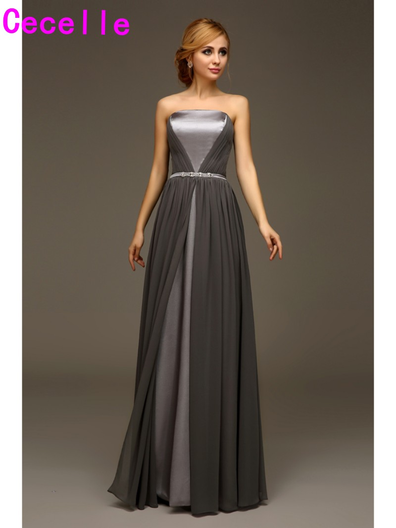 Online buy wholesale long grey chiffon bridesmaid dresses from long grey chiffon bridesmaids dresses strapless beach wedding party dresses formal dresses custom made bridesmaid robes ombrellifo Choice Image