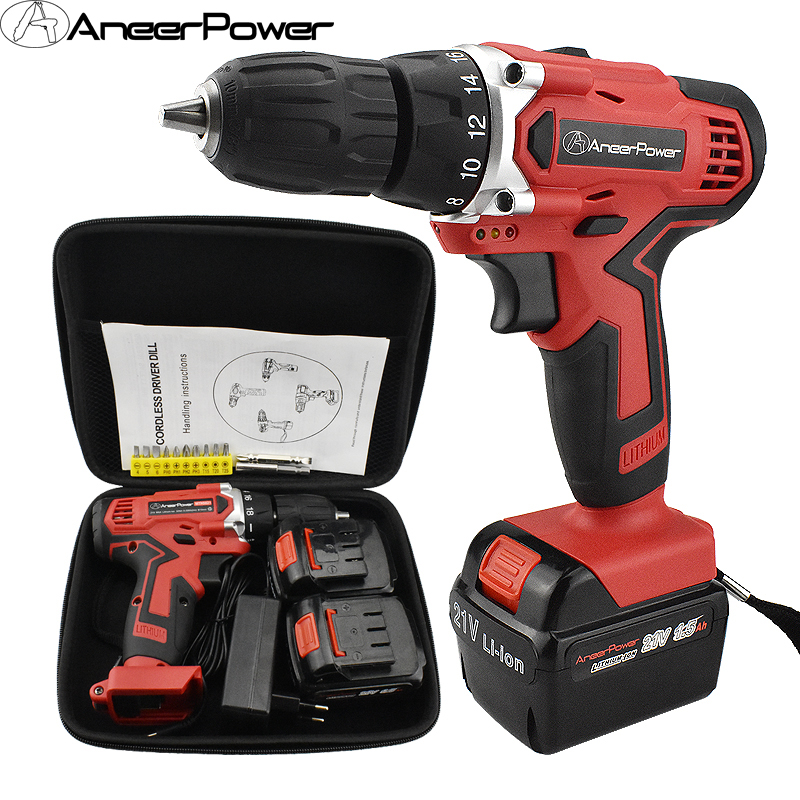 21V Screwdriver Cordless Electric Drill Eu Plug Electric Batteries Screwdriver Power Tools Mini Drill Electric Screwdriver Drill free shipping brand proskit upt 32007d frequency modulated electric screwdriver 2 electric screwdriver bit 900 1300rpm tools