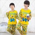 2016 Niños del otoño del resorte Pijamas Muchachas de Los Muchachos Ropa minion Tops + pantalones Pijamas de Algodón Niños Ropa de Dormir Pijamas 3-12Y