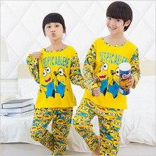 2016 printemps automne Enfants Pyjamas Définit Garçons Filles Vêtements minion Tops + pantalon Coton Pyjamas vêtements de Nuit Pour Enfants Pyjamas 3-12Y