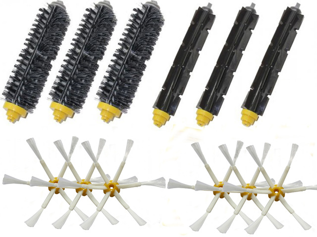 3 Bristle & Flexible Beater &6 Armed Brush For iRobot Roomba 600 700 Series 620 630 650 660 770 780 790 aero vac filter bristle brush flexible beater brush 3 armed side brush tool for irobot roomba 600 series 620 630 650 660