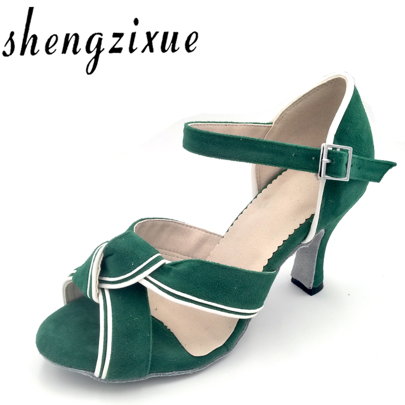Shengzixue Womens Green Flannel Sandals Ballroom Party Performance Salsa Latin Dance Shoes Heel 6cm-10cm Office & School Supplies