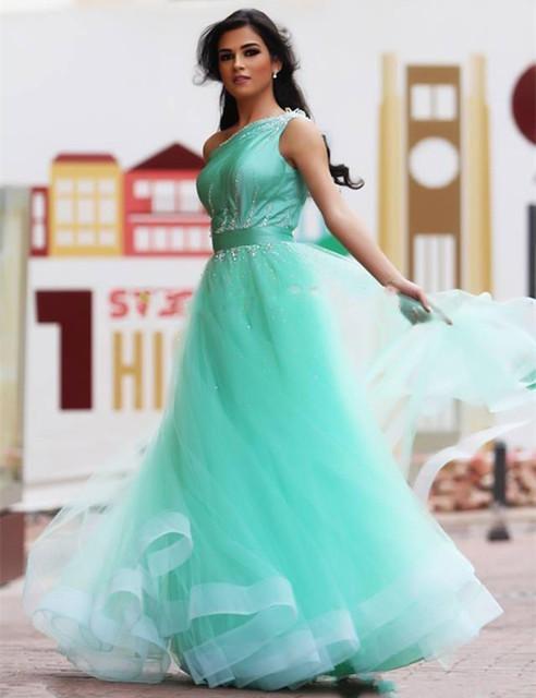 2017 Moda Mint Verde Prom Vestidos de Um Ombro Frisado Tule Uma Linha Até O Chão Vestidos de Festa Top Quality Custom Made