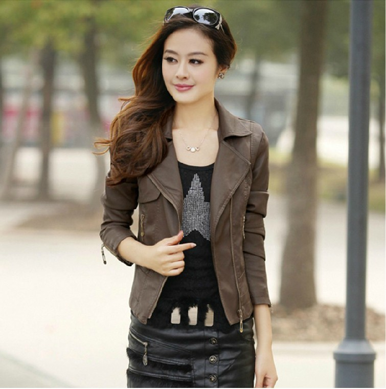 Aliexpress.com : Buy Women brown leather jacket New PU leather ...