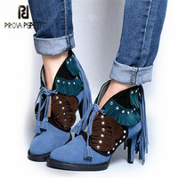 Prova Perfetto Fashion Tassels Women Ankle Boots Fringed Lace Up High Heels Platform Shoes Woman Rivets Studded Women Pumps