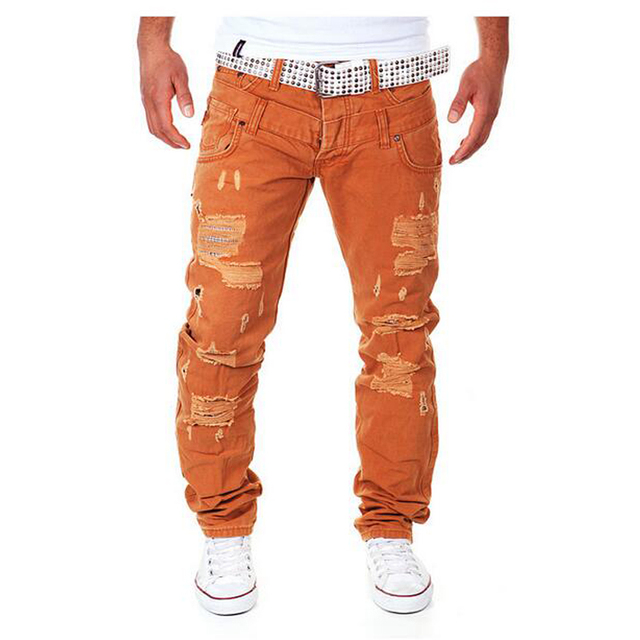 New Arrival Men's Fashion Casual Ripped Long Hole Design Cargo Pants Male Double Waist Decoration Overalls Trousers