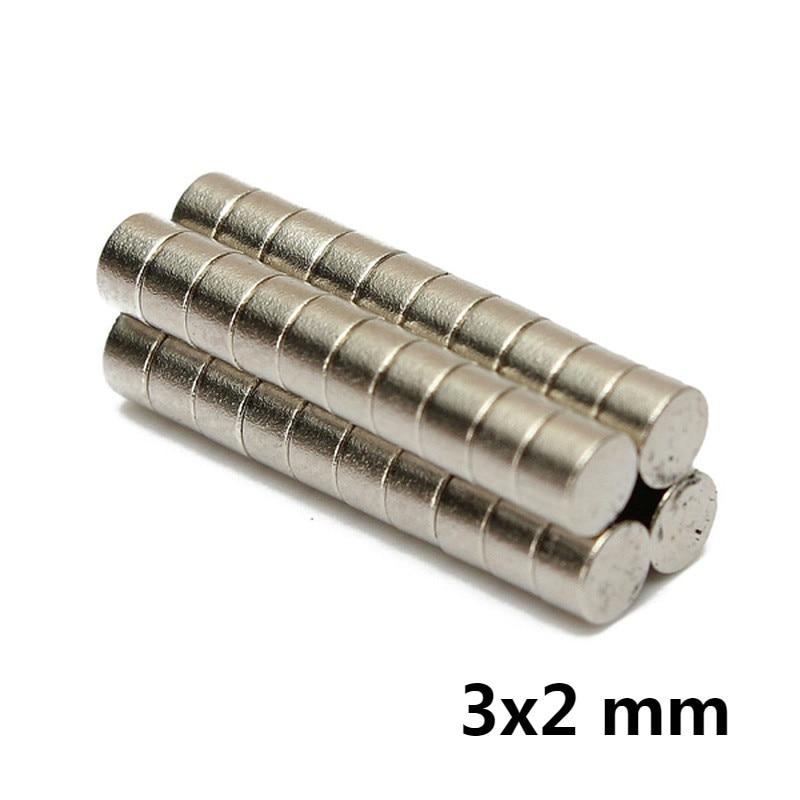 AETool 100pcs 3x2 N52 3mm*2mm Meodymium Magnet Mini Disc Dia 3mm X 2mm Strong Powerful Round Wholesale 3*2