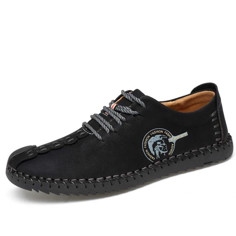 Mùa hè Người Đàn Ông Mềm Mại Thoải Mái Casual Shoes Giày Đế Men Ý Rome Giày Chất Lượng Thiết Kế Chia Da Căn Hộ Giày Da Đanh Người Đàn Ông Giày
