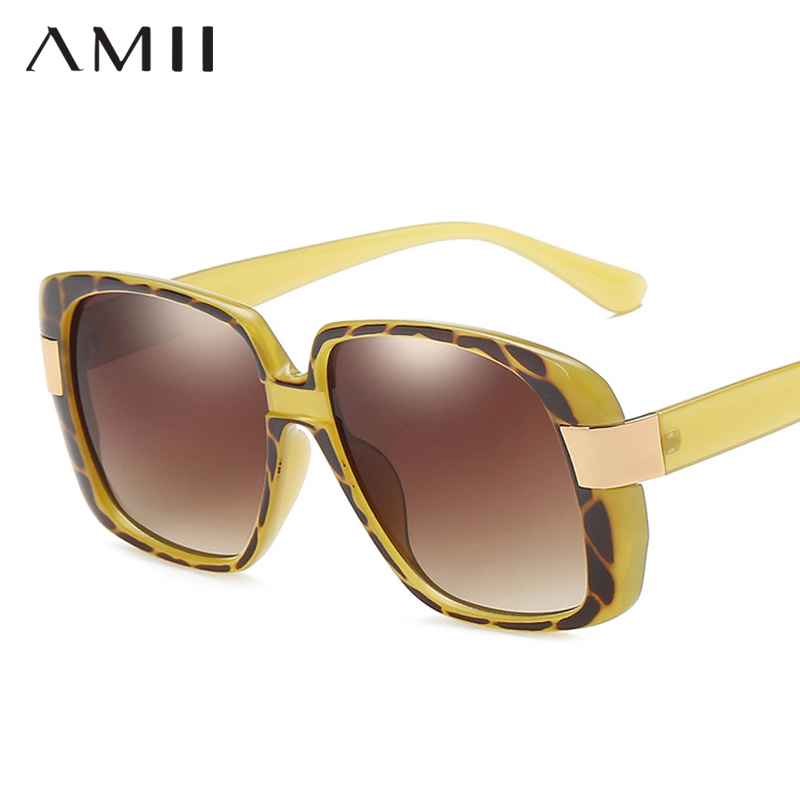 2018 New AMII Sunglasses Men Semi-Metal Glasses Women Brand Designer Original Wood Sun Glasses Women Men Oculos De So