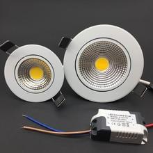 Diodo emissor de luz regulável cob downlight ac110v 220 v 5 w/7 w/9 w/12 w recesso conduziu a lâmpada do teto da decoração interna da luz do ponto