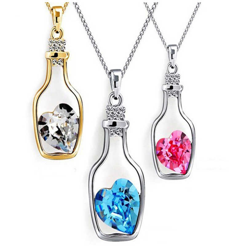 2019 New Heart Crystal Pendant Necklace Creative Women Necklace Ladies Popular Style Love Drift Bottles Pendant Necklace