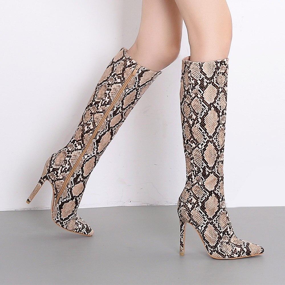 Genou D'hiver Sexy Muqgew Shipping Haute Scène Bottes Femmes Serpent Nuit Drop Boîte Marron De Stiletto blanc tr0x0qI