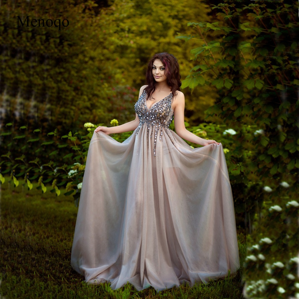 V צוואר נוצץ שמלות נשף 2019 ללא משענת ערב מסיבת שמלה אלגנטי סקסי לראות דרך גבוהה פיצול Vestido דה Festa תמונה אמיתית