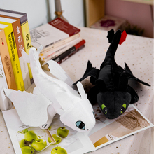2pcs 35cm How to Train Your Dragon 3 White and black Toothless Plush Toys Night Fury Light Soft Stuffed Animal Doll