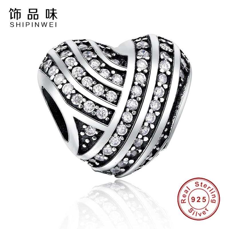 Shipinwei 100% Authentic 925 Sterling Silver Heart Shape Charm Beads Fit Pandora Charm Bracelet DIY Original Silver Jewelry