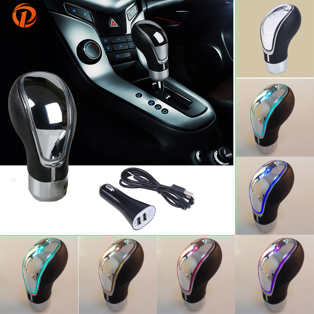 POSSBAY LED Gear Knob Touch Activated Lighted Shfit Knob Shift Knob LED Shift Knobs Shifter Manual Transmission Gear Stick