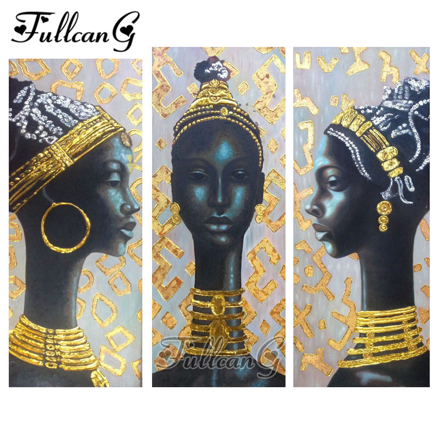 FULLCANG native african woman triptych diamond painting mosaic cross stitch diy 5d embroidery full square drill G545