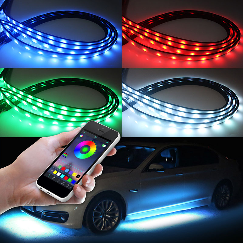 4PCS <font><b>RGB</b></font> <font><b>LED</b></font> Waterproof Under <font><b>Car</b></font> Underglow System <font><b>Lights</b></font> <font><b>Strips</b></font> Bluetooth APP/ RF Remote Controller 90X120cm for Racing Style image