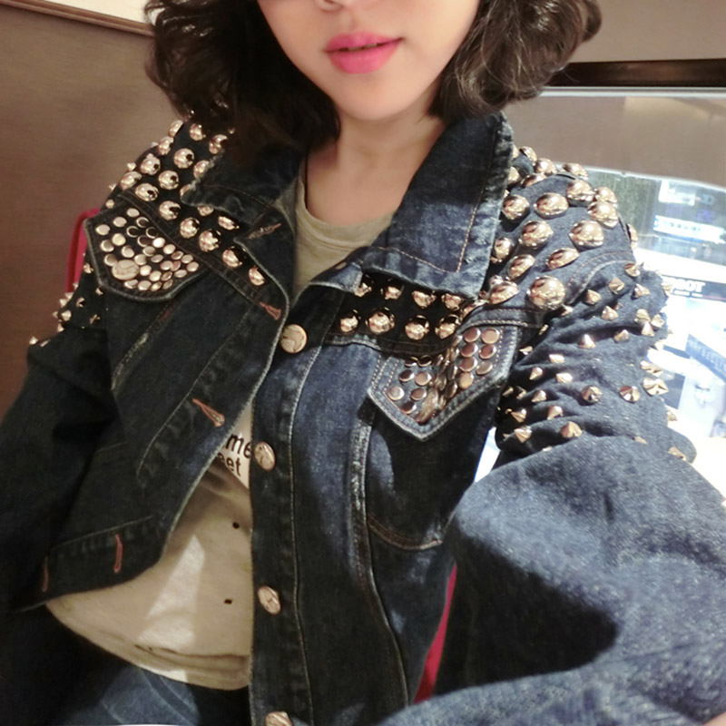 Summer European American Womens Rock Roll Punk Handmade Beading Heavy Metal Rivet Denim Jacket Female BF Wind Loose Denim Jacket