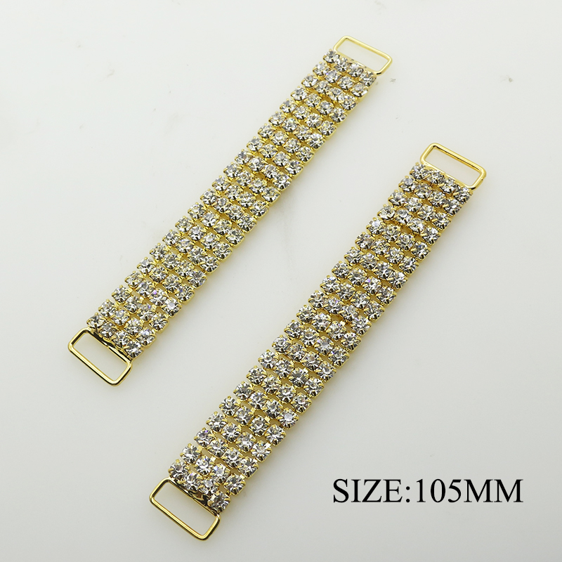 YWXINXI Direct Sales 2 Pcs / Batch 105MM Gold Plating Four Rows Rhinestone Summer Wild Swimsuit Chain DIY Accessories