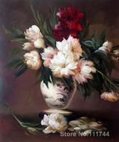 Oil painting faces Peonies In A Vase Edouard Manet home decor High quality Hand painted