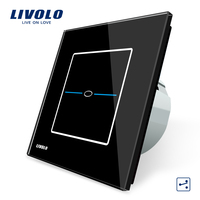 Free Shipping Livolo EU Standard VL C701S SR2 Black Crystal Glass Panel 1Gang 2 Way Control