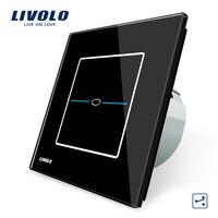 Free Shipping Livolo EU Standard VL C701S SR2 Black Crystal Glass Panel 1Gang 2 Way Control