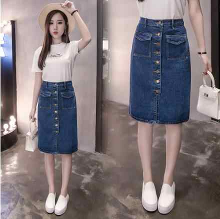 2019 Большие размеры летние женские трапециевидные юбки однобортный сладкий синяя джинсовая юбка женщины-хипстеры Сплит джинсы Saias S-5XL LJ520