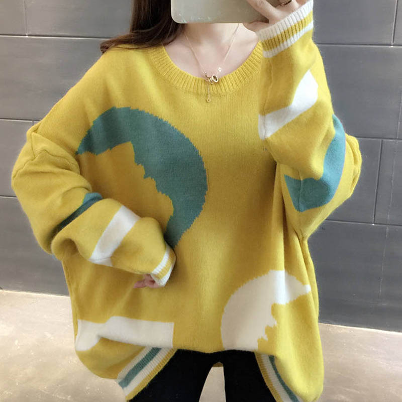 Women Winter Loose Sweater Jumpers Pullovers Knitting Thick Warm Xmas Sweater H9