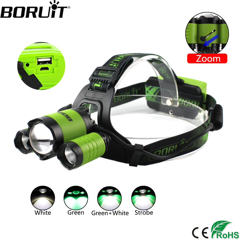BORUiT B22 XM-L2 LED Headlamp XPE Green Hunting Lantern 4-Mode Zoomable Headlight USB Charger Head torch Power Bank Flashlight стоимость