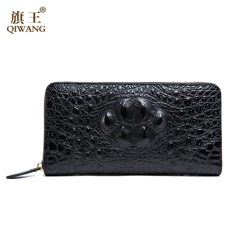 QIWANG Sexy Women Wallets Crocodile Head and Tail Wallet Purse for Women Split Leather 3D Alligator Pattern Long Wallet Women qiwang fashion women wallets snake pattern leatherl wallet purse for women real leather hole design female long wallet women
