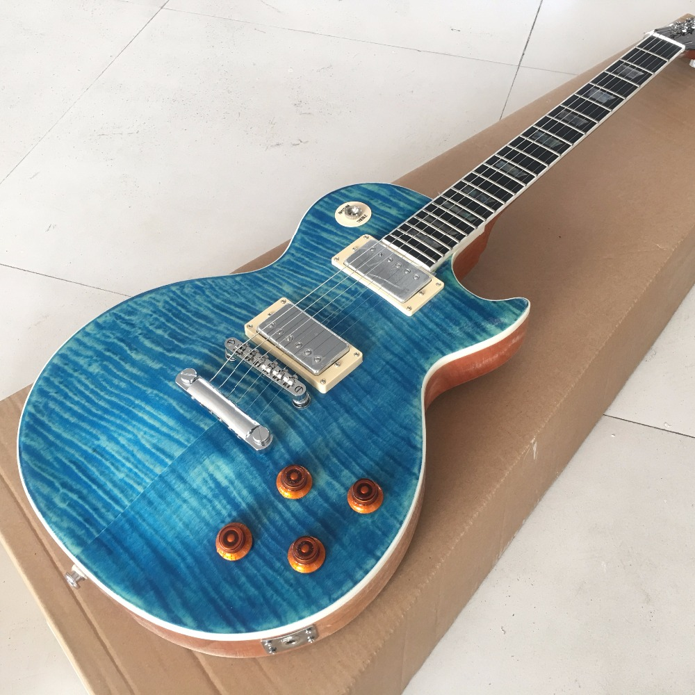 Dark Blue Electric guitar with One Piece Body &Neck,Wood binding, Ebony fretboard with Real Abalone inlay,  Real photo showing custom shop one piece set neck through body 4 strings fodera butterfly bass guitar burl wood cover support bass guitar customize