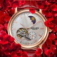 Señoras Relojes de Primeras Marcas de Lujo Correa de Cuero Movimiento Automático Reloj de Oro Rosa Relogio Feminino Dourado Relojes Para Las Mujeres