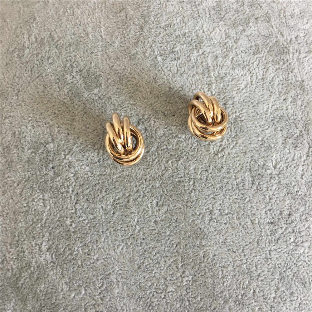 CASUAL GOLD RHODIUM COLOR CIRCLE LINKED STUD EARRING FOR WOMAN GIRL
